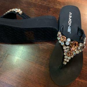 Simone Size 6 Jeweled Platform Flip Flops
